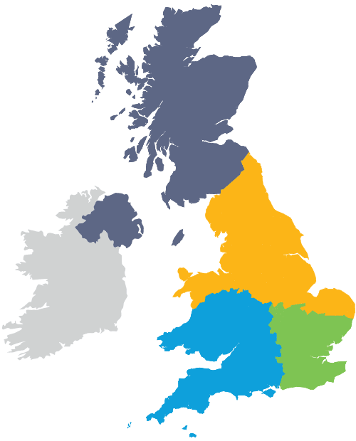 UK map showing our coverage