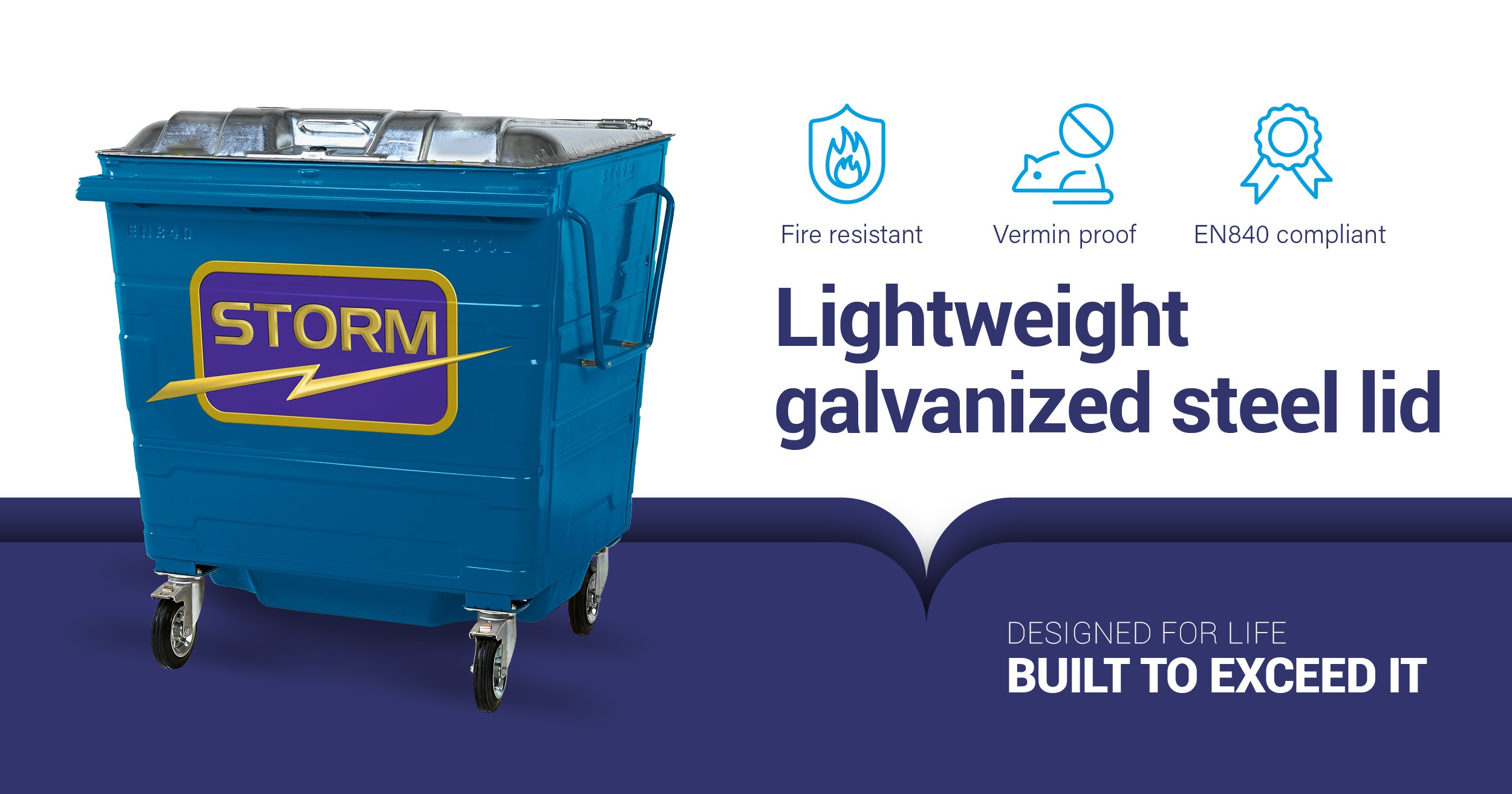 Galvanized steel lid bin