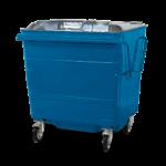 Steel lid bin blue