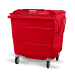Steel lid bin red