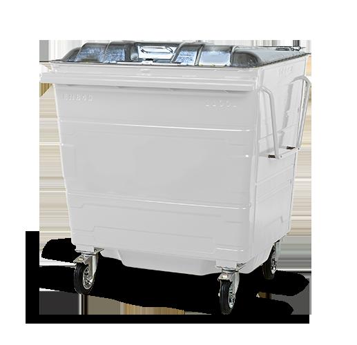 Steel lid bin white